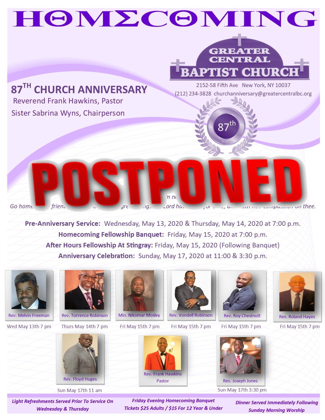 87th Church Anniversary Flyer Postponed