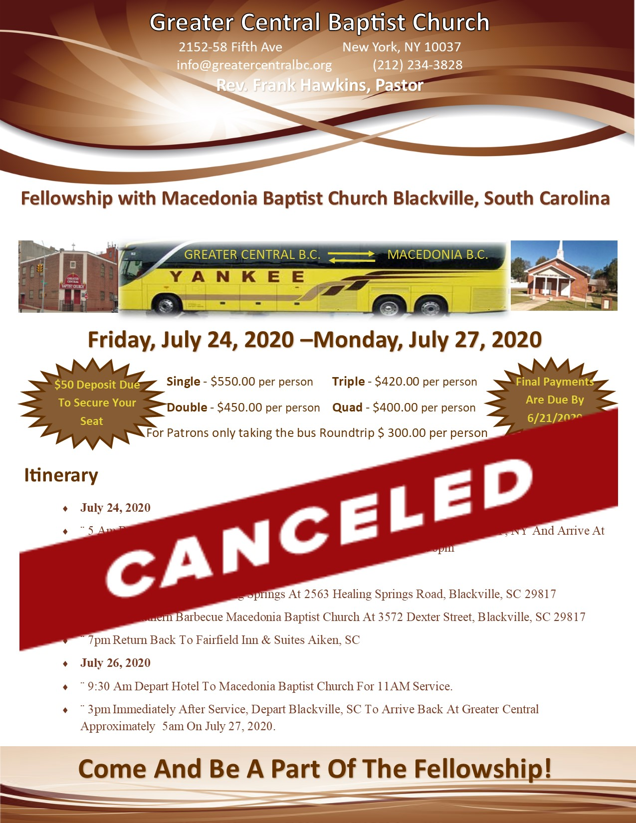 Fellowship With Macedonia BC - Blackville SC Cancelled