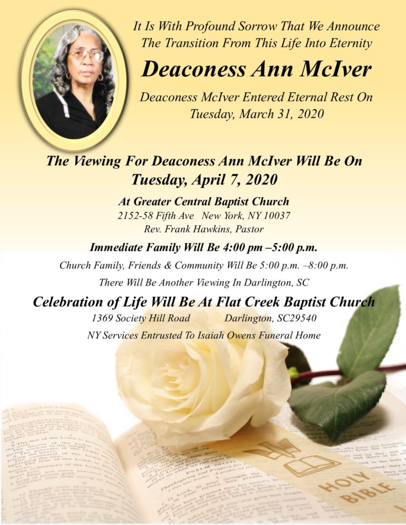 Bereavement Announcement Ann McIver