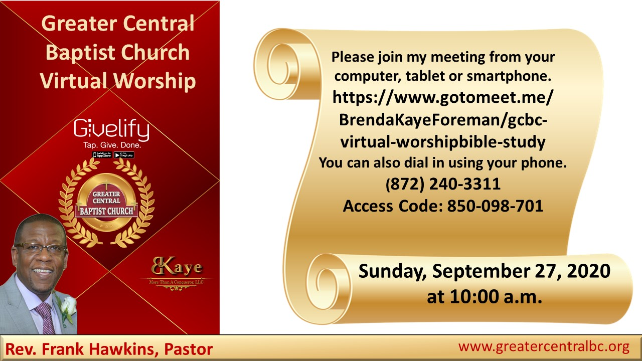 GCBC Virtual Worship Sunday, September 27, 2020