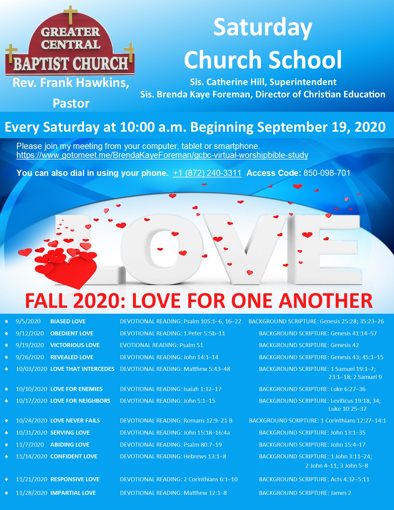 Saturday Church School Fall - Love For One Another