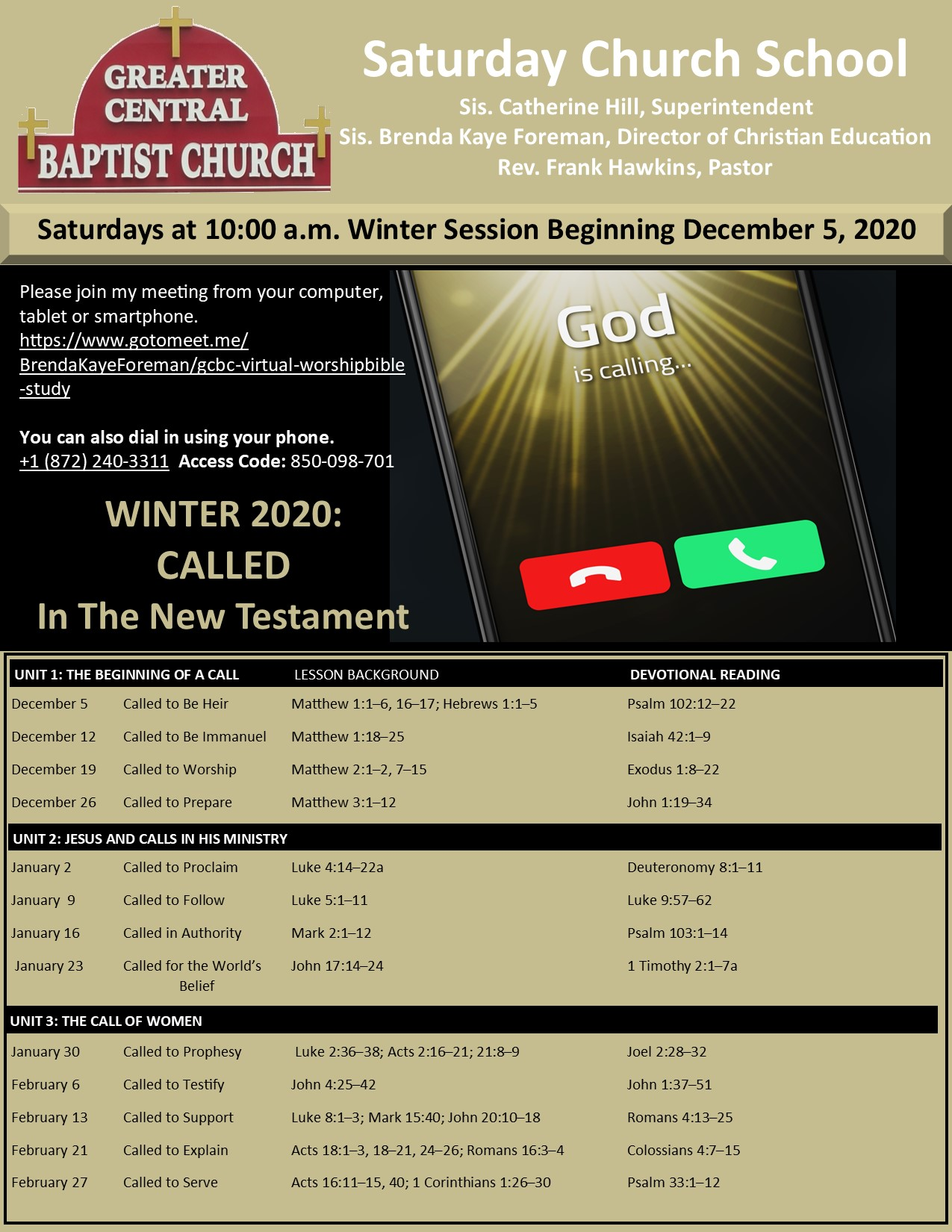 Saturday Church School Winter -Called In The New Testament